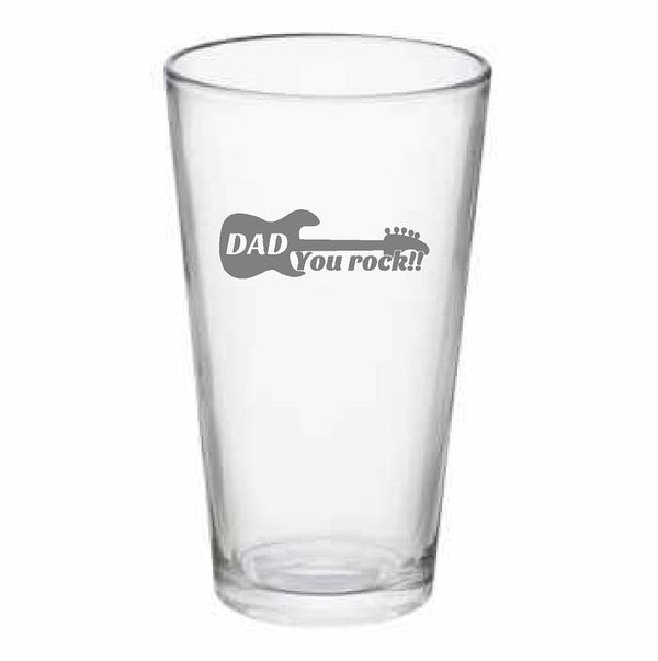 Dad You Rock Pub Glass, 16 oz. or Beer Mug, 25 oz.