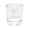Dad Established 11 oz. whiskey rocks glass, permanently etched, with Kids Birthdates
