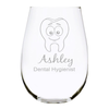 Dental profession, personalized 17oz. Lead Free Crystal stemless wine glass