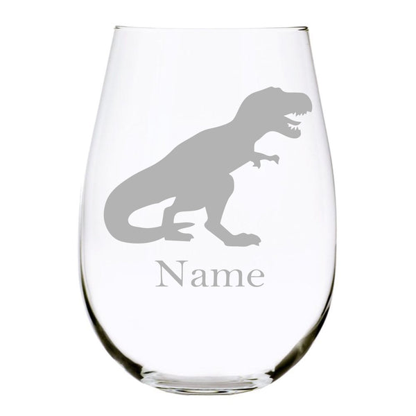 Dino with name 17oz. Lead Free Crystal stemless wine glass