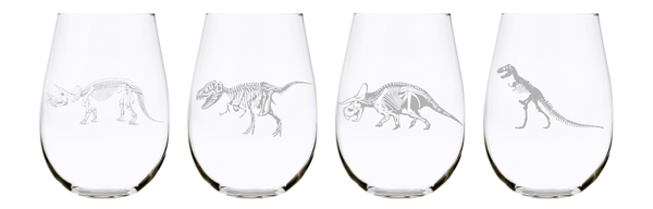 Dinosaur skeleton stemless wine glass (set of 4) 17oz. Lead Free Crystal