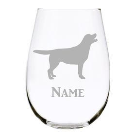 Personalized Dog Breed Stemless Wine Glass-17.oz Lead Free Crystal