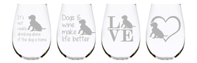 Dogs stemless wine glass (set of 4) …17oz. Lead Free Crystal
