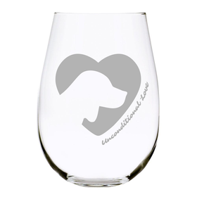 Dog silhouette stemless wine glass, 17 oz. Lead Free Crystal