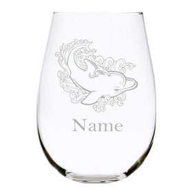 Dolphin with name 17oz. Lead Free Crystal stemless wine glass