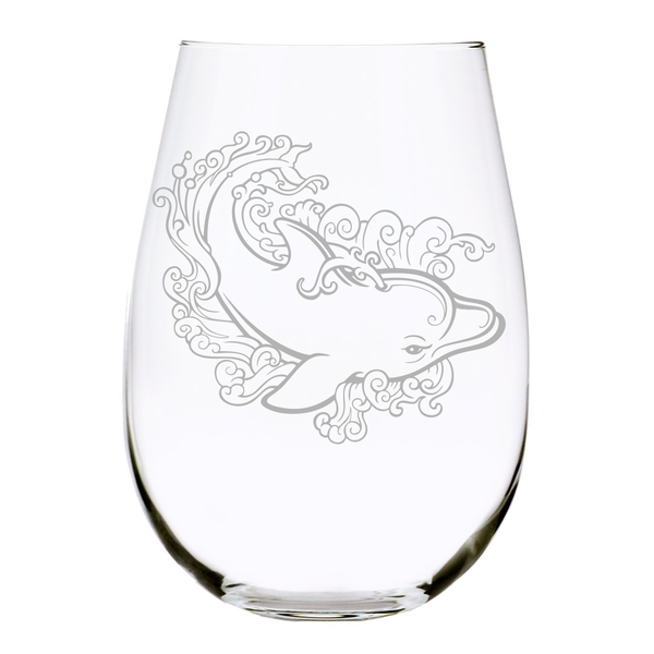 Dolphin Waves stemless wine glass, 17 oz.
