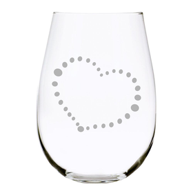 Dotted Heart 17 oz. Stemless Wine Glass, Lead Free Crystal