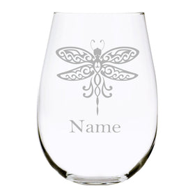 Dragonfly with name 17oz. Lead Free Crystal stemless wine glass