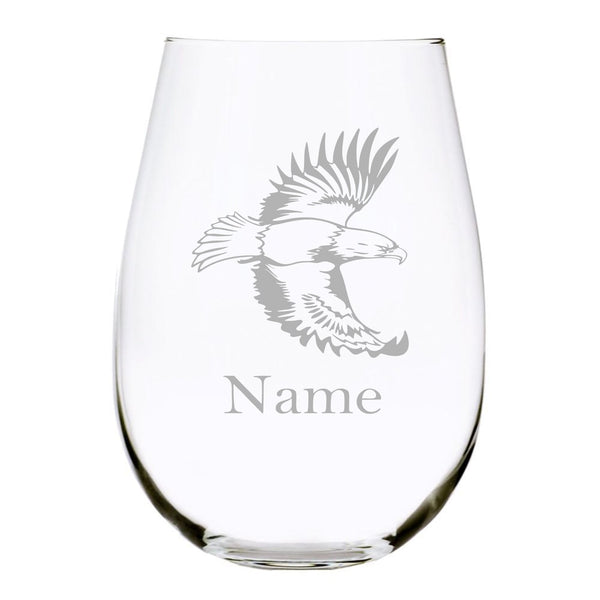 Eagle with name 17oz. Lead Free Crystal stemless wine glass