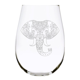 Elephant 17oz. Lead Free Crystal stemless wine glass
