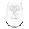 Elephant with name 17oz. Lead Free Crystal stemless wine glass