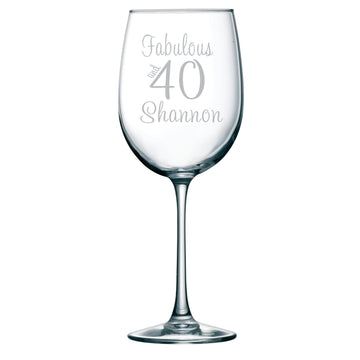 Fabulous and 40 Etched Wine Glass with Name