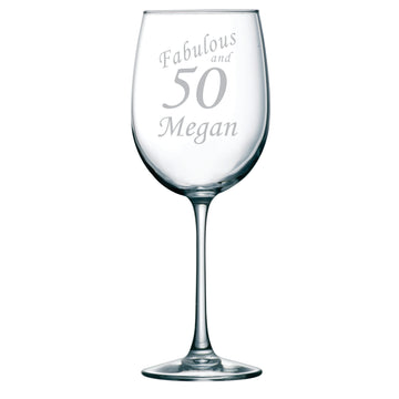 Fabulous and 50 Etched Wine Glass with Name