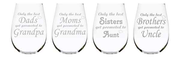 Family promoted stemless wine glass (set of 4), choose your title, 17 oz. Lead Free Crystal