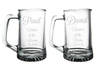 Personalized Father of the Groom and Father of the Bride Beer Mug Set, choose your font
