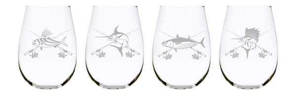 Fish stemless wine glass (set of 4), 17 oz. Lead Free Crystal