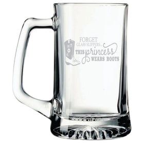 FORGET Glass Slippers.This princess WEARS BOOTS 25 oz Beer Mug
