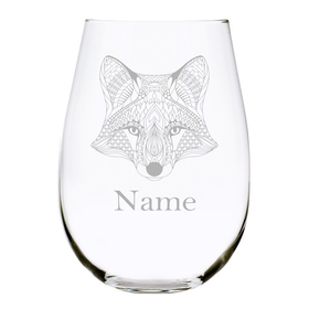 Fox with name 17oz. Lead Free Crystal stemless wine glass
