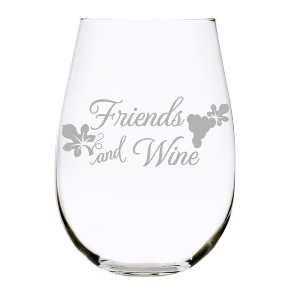 Friends and Wine Stemless Wine Glass, 17 oz. Lead Free Crystal