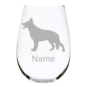 German Shepherd Stemless Wine Glass-Customize with Dog's Name-6 Silhouettes to Choose From, 17 oz. Lead Free Crystal