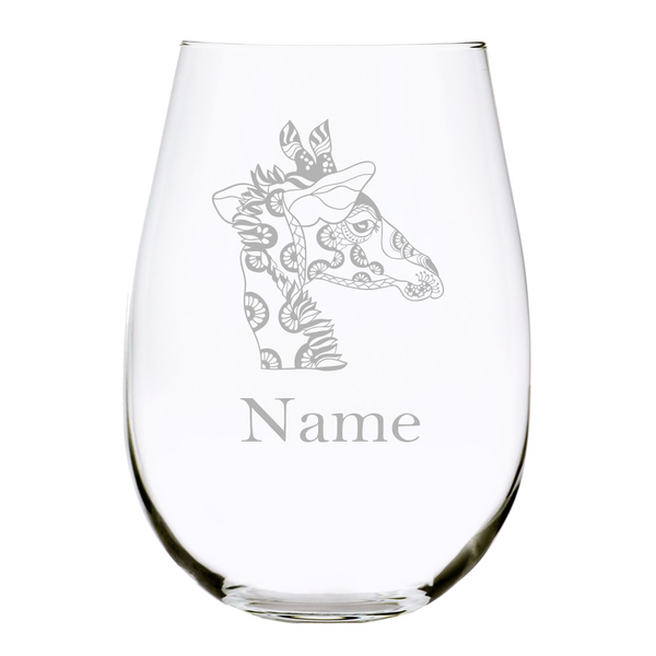 Giraffe with name stemless wine glass, 17 oz. Lead Free Crystal