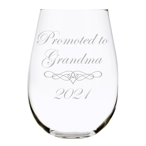 Promoted to Grandma 2021 stemless wine glass, 17 oz. Lead Free Crystal