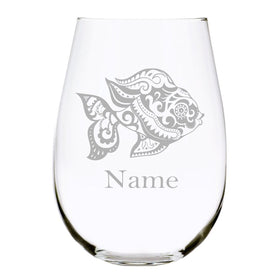 Goldfish with name 17oz. Lead Free Crystal stemless wine glass