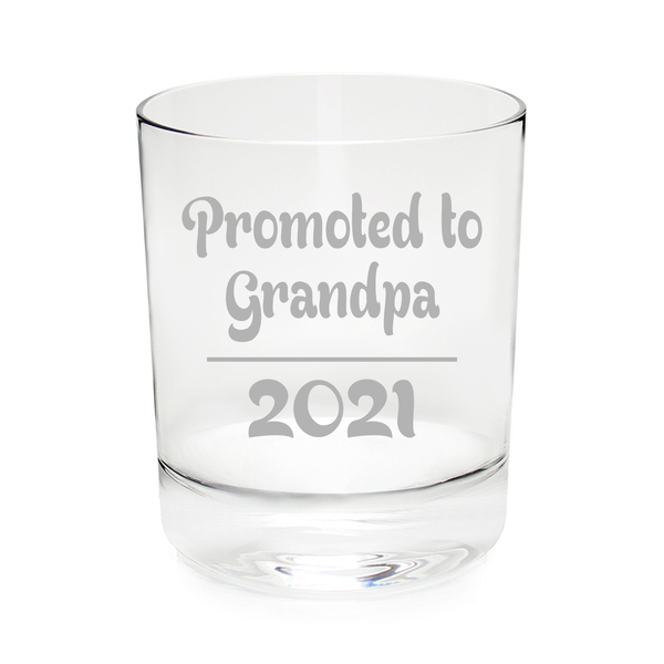 Promoted to Grandpa 2021, 11 oz. rocks, whiskey glass