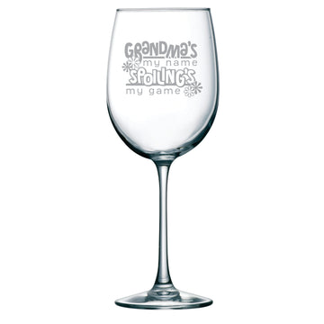 Grandma's my name Spoiling's my game wine glass, 19 oz.