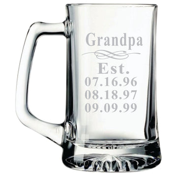 Grandpa Established Beer Mug with Grandkids Birthdays, 25 oz.