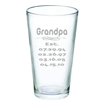 Grandpa Established Pub Glass with Grandkids Birthdays