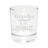 Grandpa Established 11 oz. whiskey rocks glass, permanently etched, with grandkids birthdates