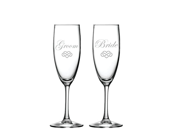 Groom and Bride 8 oz. champagne flutes