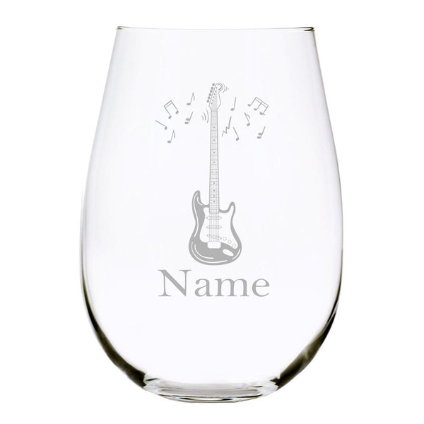 Guitar with name 17oz. Lead Free Crystal stemless wine glass