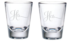 His and Hers Shot Glasses, 2 oz.
