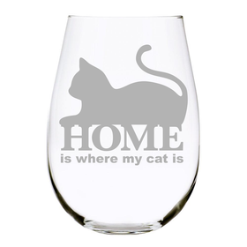 HOME is where my cat is 17oz. Lead Free Crystal stemless wine glass