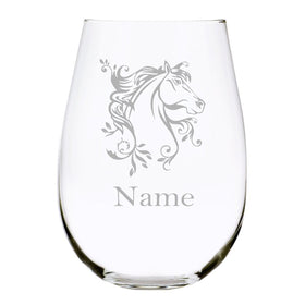 Horse with name 17oz. Lead Free Crystal stemless wine glass