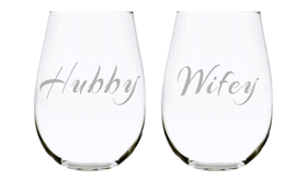 Hubby and Wifey Stemless Set, 17 oz. Lead Free Crystal