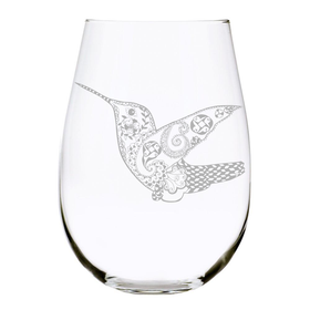 Hummingbird 17oz. Lead Free Crystal stemless wine glass