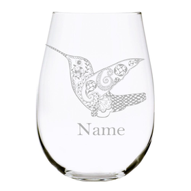 Hummingbird with name 17oz. Lead Free Crystal stemless wine glass