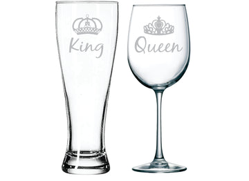King beer and Queen wine glass with crowns (set of 2)