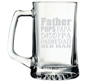 Large 25 oz. Beer mug, Father POPS PAPA DADDY PA PADRE DAD OLD MAN