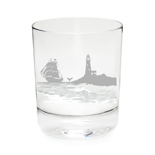 Nautical Whiskey Rocks Glass-11 oz. Tumbler-Lighthouse with vintage sailboat