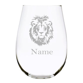 Lion with name 17oz. Lead Free Crystal stemless wine glass