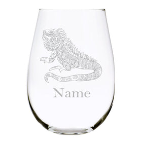 Lizard with name 17oz. Lead Free Crystal stemless wine glass