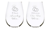 One Lucky Mr. and Soon To Be Mrs. Etched 17 oz. Stemless Wine Glasses Set - Engagement Gift Set, Lead Free Crystal