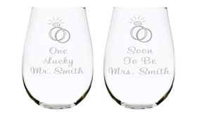 One Lucky Mr. and Soon To Be Mrs. with name Etched 17oz. Lead Free Crystal Stemless Wine Glasses Set - Engagement Gift Set