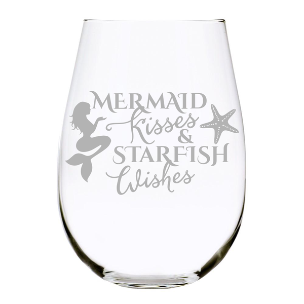Mermaid Kisses and Starfish Wishes 17oz. Lead Free Crystal stemless wine glass