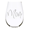 Mom 17oz. Lead Free Crystal stemless etched wine glass