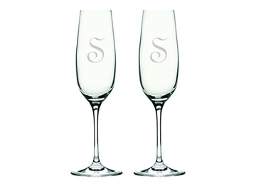 Monogrammed Initial Champagne Flutes Set
